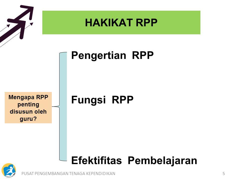 PUSAT PENGEMBANGAN TENAGA KEPENDIDIKAN5 HAKIKAT RPP Mengapa RPP penting disusun oleh guru.