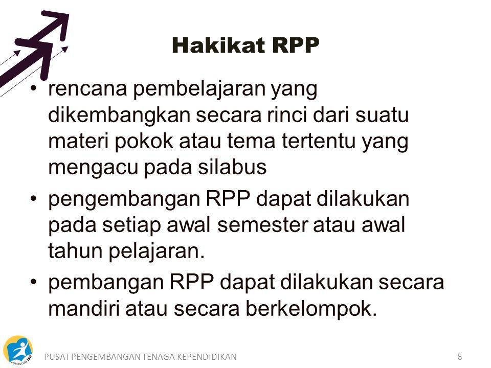 PUSAT PENGEMBANGAN TENAGA KEPENDIDIKAN6 rencana pembelajaran yang dikembangkan secara rinci dari suatu materi pokok atau tema tertentu yang mengacu pada silabus pengembangan RPP dapat dilakukan pada setiap awal semester atau awal tahun pelajaran.