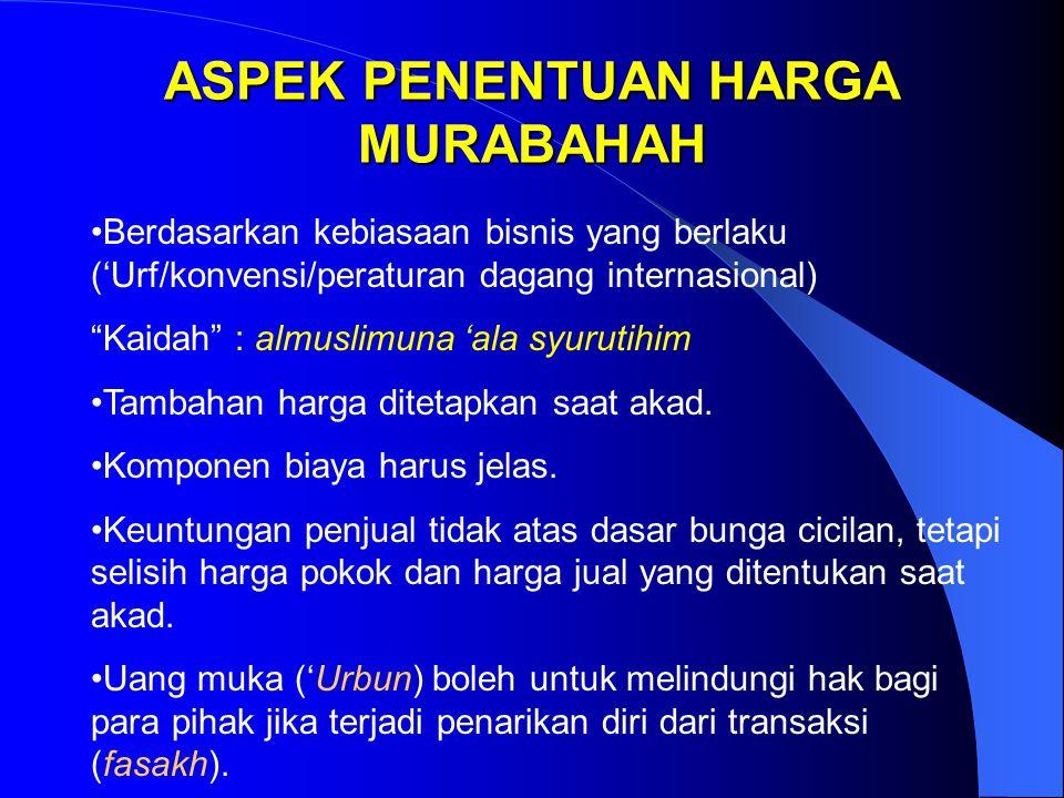 """ASPEK PENENTUAN HARGA MURABAHAH Berdasarkan kebiasaan bisnis yang berlaku ('Urf/konvensi/peraturan dagang internasional) """"Kaidah"""" : almuslimuna 'ala s"""