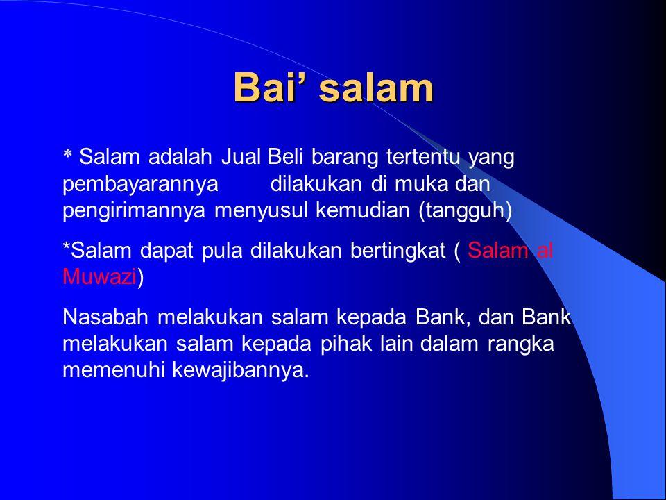 Bai' salam * Salam adalah Jual Beli barang tertentu yang pembayarannya dilakukan di muka dan pengirimannya menyusul kemudian (tangguh) *Salam dapat pu