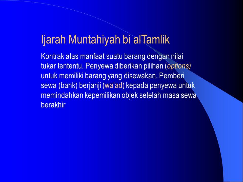 Ijarah Muntahiyah bi alTamlik Kontrak atas manfaat suatu barang dengan nilai tukar tententu. Penyewa diberikan pilihan ( options) untuk memiliki baran