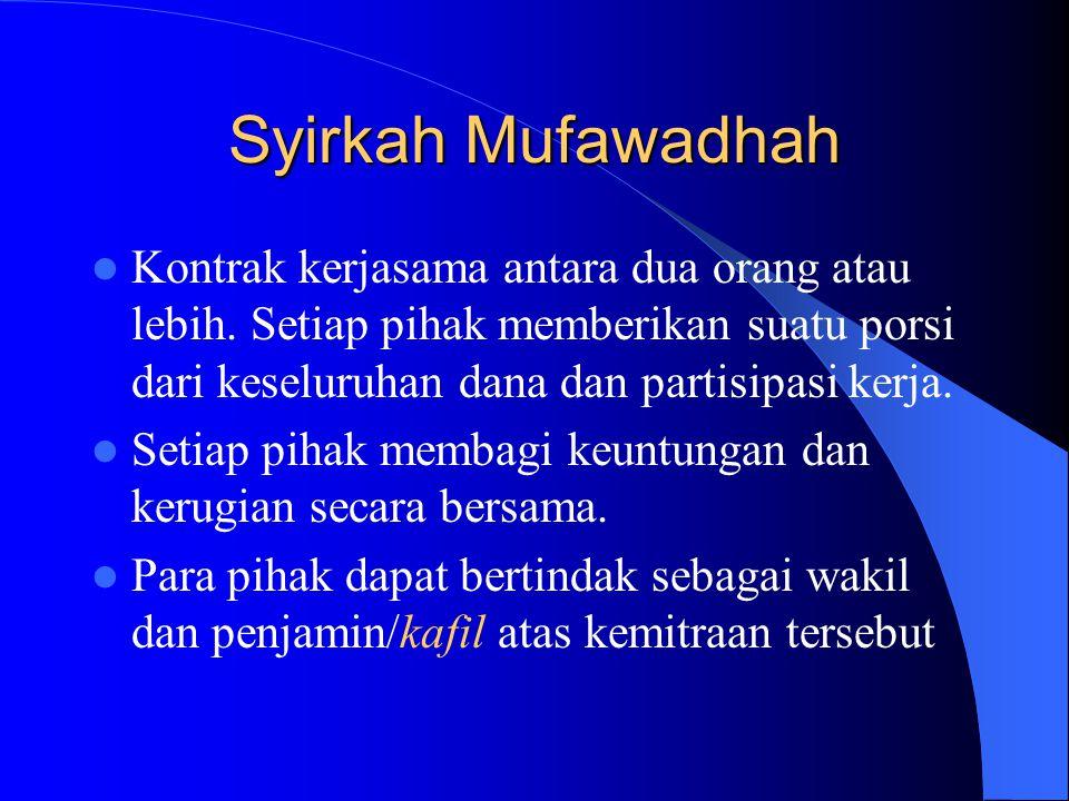 Syirkah Mufawadhah Kontrak kerjasama antara dua orang atau lebih. Setiap pihak memberikan suatu porsi dari keseluruhan dana dan partisipasi kerja. Set