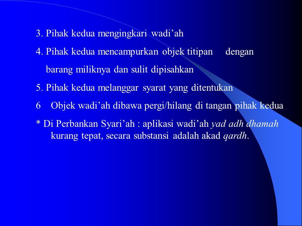 3. Pihak kedua mengingkari wadi'ah 4. Pihak kedua mencampurkan objek titipan dengan barang miliknya dan sulit dipisahkan 5. Pihak kedua melanggar syar