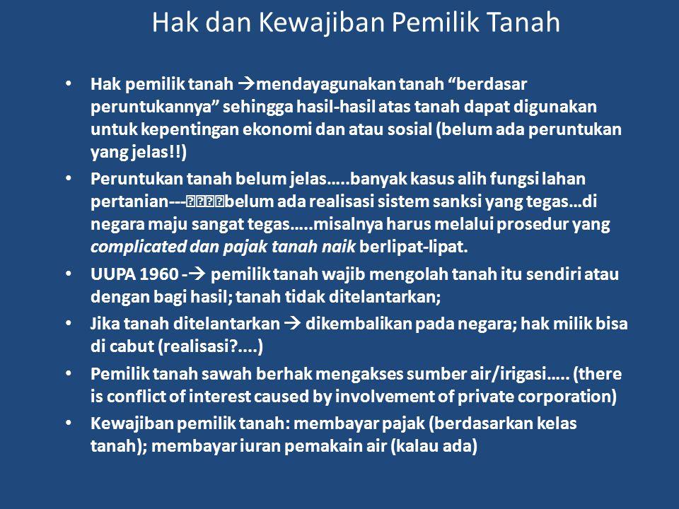 """Hak dan Kewajiban Pemilik Tanah Hak pemilik tanah  mendayagunakan tanah """"berdasar peruntukannya"""" sehingga hasil-hasil atas tanah dapat digunakan untu"""
