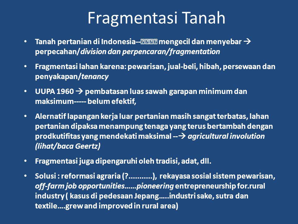 Fragmentasi Tanah Tanah pertanian di Indonesia-- mengecil dan menyebar  perpecahan/division dan perpencaran/fragmentation Fragmentasi lahan karena: p