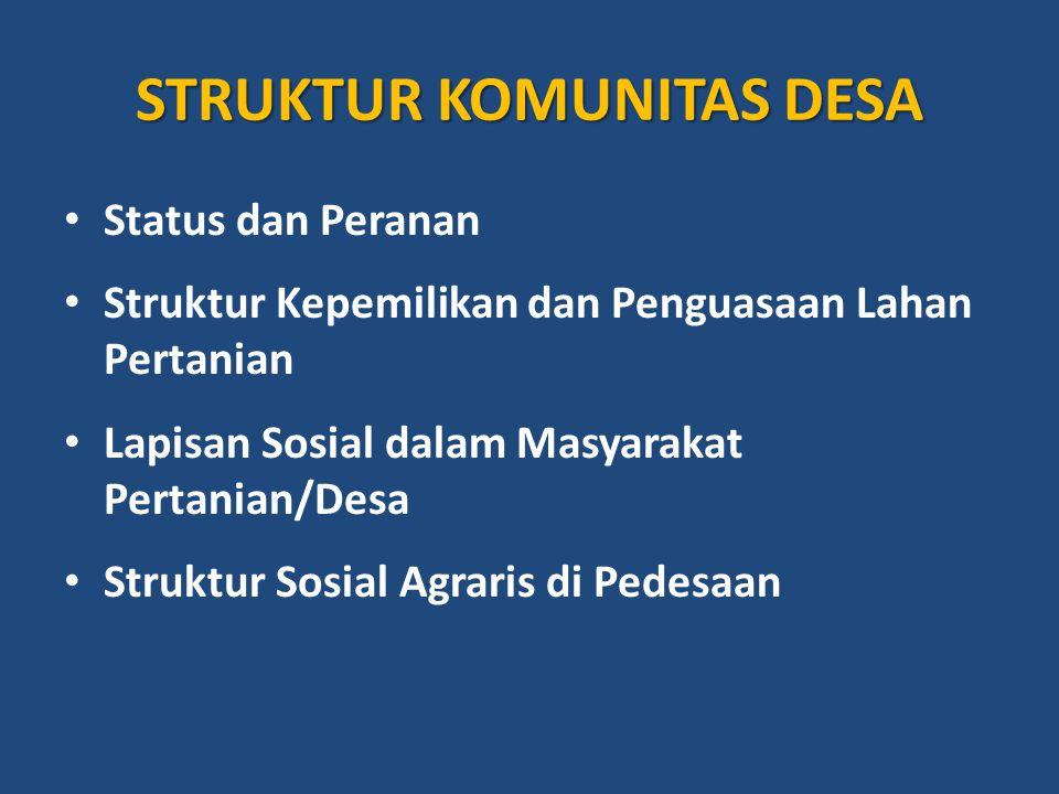 STRUKTUR KOMUNITAS DESA Status dan Peranan Struktur Kepemilikan dan Penguasaan Lahan Pertanian Lapisan Sosial dalam Masyarakat Pertanian/Desa Struktur