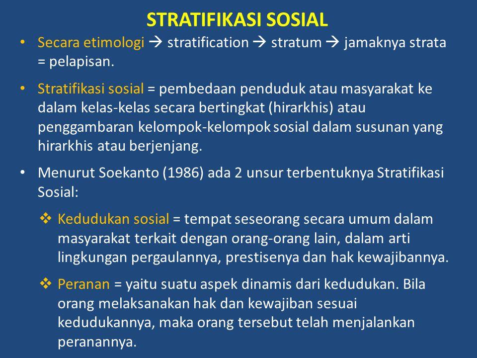STRATIFIKASI SOSIAL Secara etimologi  stratification  stratum  jamaknya strata = pelapisan. Stratifikasi sosial = pembedaan penduduk atau masyaraka