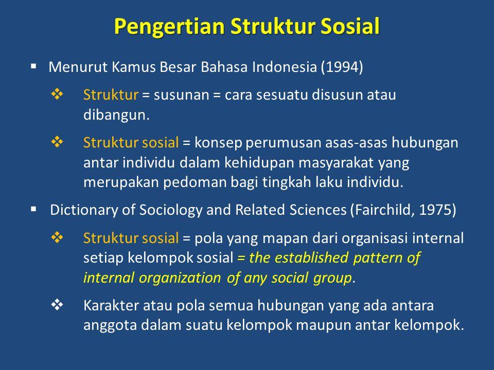 Lanjutan pengertian struktur sosial  Menurut teori struktural fungsional (Suparlan,1982)  Struktur sosial = hubungan timbal balik antar posisi-posisi sosial yang dikonsepsikan secara lebih terperinci dengan menjabarkan manusia yang menempati posisi dan melaksanakan peranannya.
