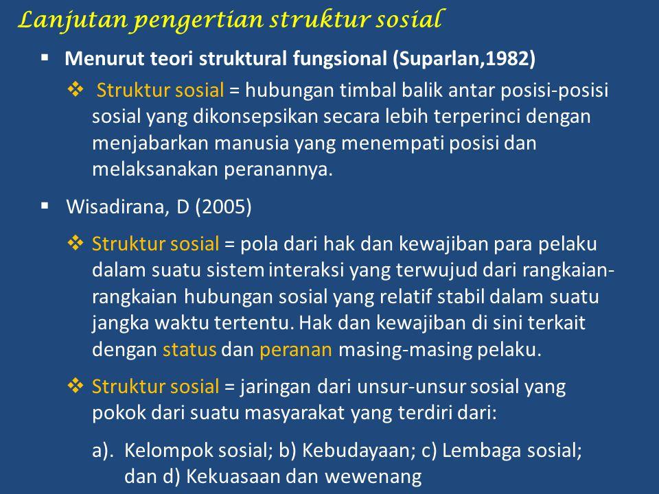 Lanjutan pengertian struktur sosial  Menurut teori struktural fungsional (Suparlan,1982)  Struktur sosial = hubungan timbal balik antar posisi-posis