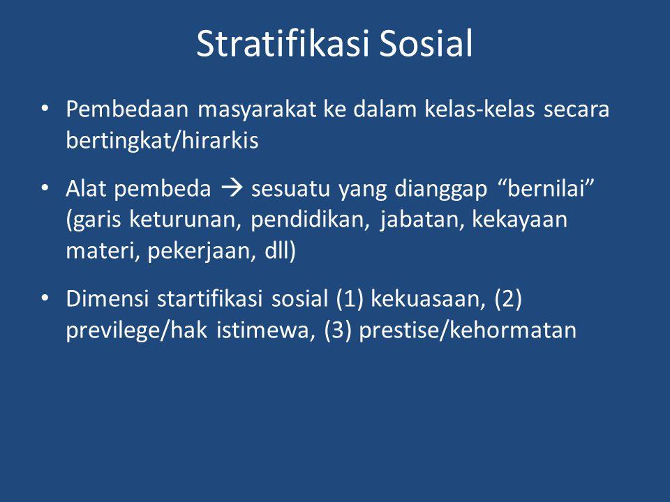 """Stratifikasi Sosial Pembedaan masyarakat ke dalam kelas-kelas secara bertingkat/hirarkis Alat pembeda  sesuatu yang dianggap """"bernilai"""" (garis keturu"""