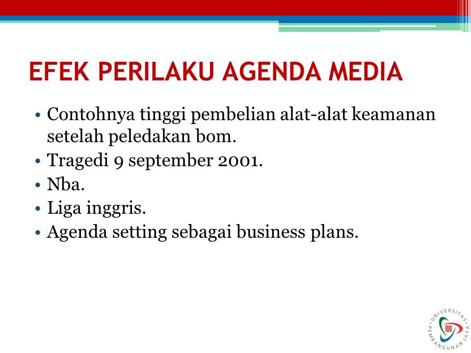 EFEK PERILAKU AGENDA MEDIA Contohnya tinggi pembelian alat-alat keamanan setelah peledakan bom. Tragedi 9 september 2001. Nba. Liga inggris. Agenda se