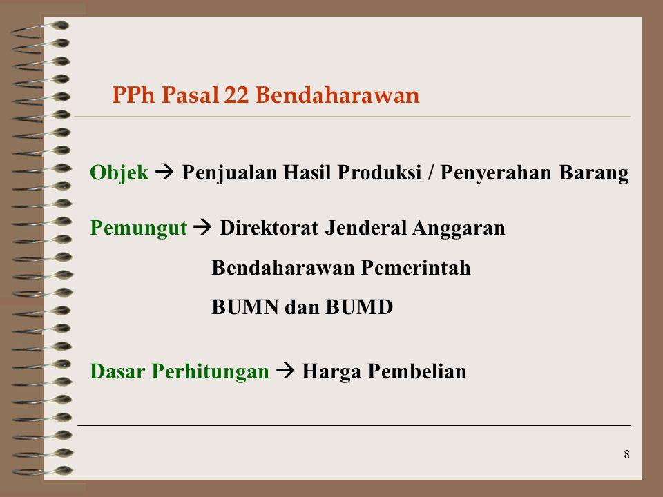 8 PPh Pasal 22 Bendaharawan Objek  Penjualan Hasil Produksi / Penyerahan Barang Pemungut  Direktorat Jenderal Anggaran Bendaharawan Pemerintah BUMN