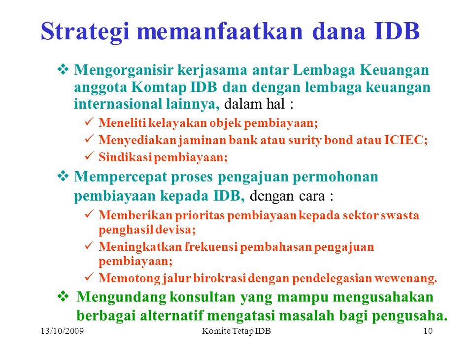 13/10/2009Komite Tetap IDB9 STRATEGI PEMANFAATAN DANA IDB