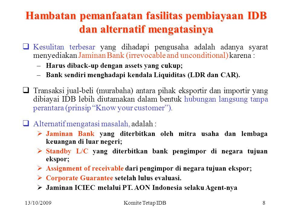 13/10/2009Komite Tetap IDB7 Fasilitas pembiayaan yang tersedia  Pembiayaan Perdagangan  Pembiayaan Impor (Murabaha, 24 bulan): Direct ITFO untuk impor diatas US$.