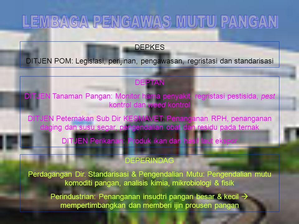 DEPKES DITJEN POM: Legislasi, perijinan, pengawasan, regristasi dan standarisasi DEPTAN DITJEN Tanaman Pangan: Monitor hama penyakit, regristasi pesti