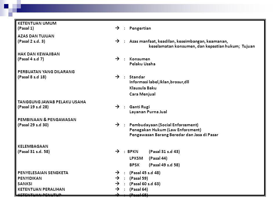 KETENTUAN UMUM (Pasal 1)  :Pengertian AZAS DAN TUJUAN (Pasal 2 s.d. 3)  :Azas manfaat, keadilan, keseimbangan, keamanan, keselamatan konsumen, dan k