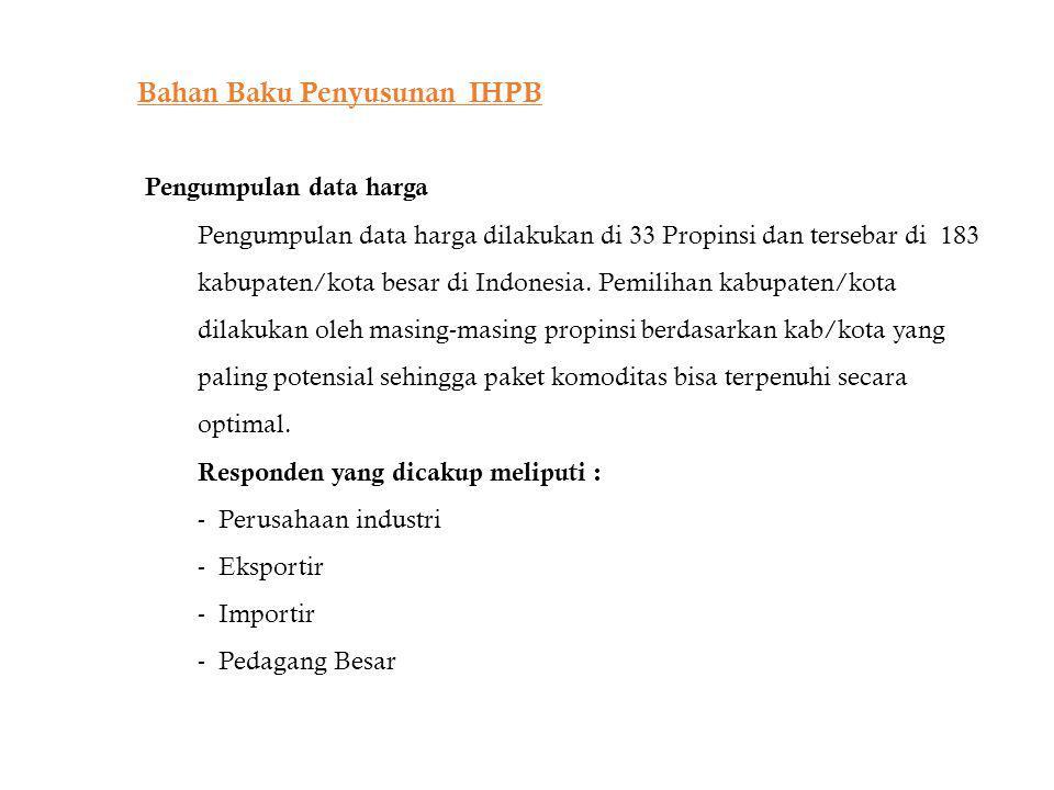 Bahan Baku Penyusunan IHPB Pengumpulan data harga Pengumpulan data harga dilakukan di 33 Propinsi dan tersebar di 183 kabupaten/kota besar di Indonesi