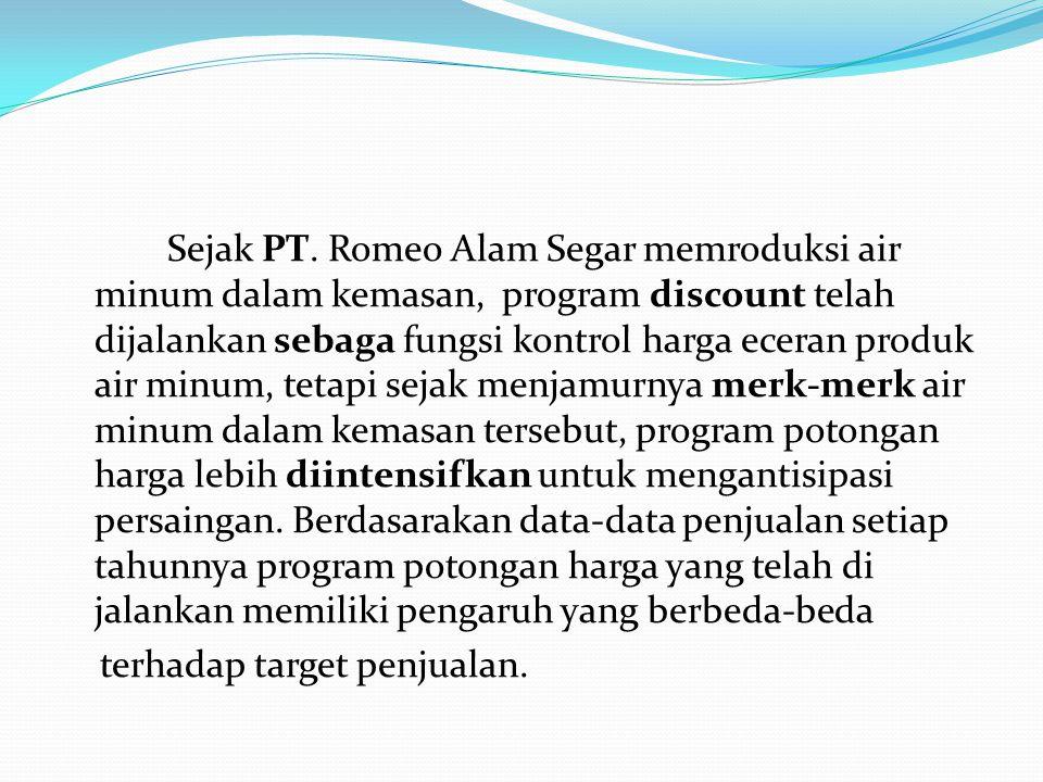 Sejak PT. Romeo Alam Segar memroduksi air minum dalam kemasan, program discount telah dijalankan sebaga fungsi kontrol harga eceran produk air minum,