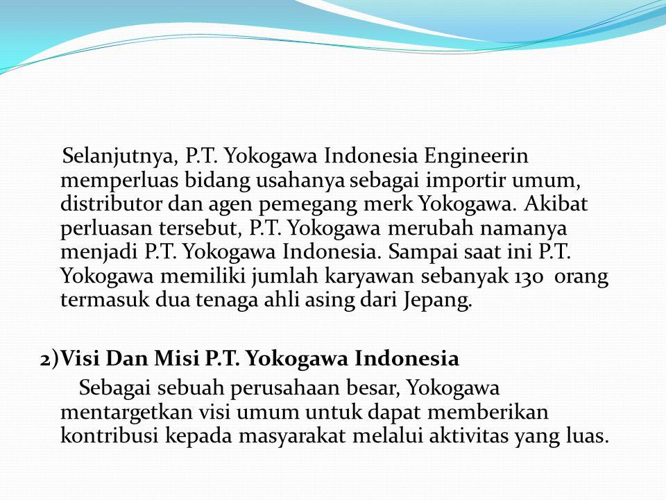 Selanjutnya, P.T. Yokogawa Indonesia Engineerin memperluas bidang usahanya sebagai importir umum, distributor dan agen pemegang merk Yokogawa. Akibat