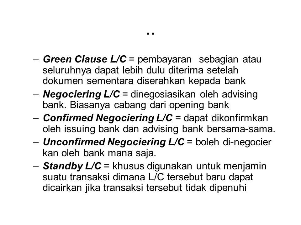 IMPORTIR ATAU PEMBELI OPENING BANK ATAU ISSUING BANK BENEFICIARY ATAU EKSPORTIR ATAU PENJUAL ADVISING BANK NEGOTIATING BANK ACCEPTANCE BANK CONFIRMING BANK PAYING BANK Adalah BANK DEVISA Dinegara eksportir L/C Wesel / draft Pembayaran wesel/draft L/C Wesel / draft Penerimaan pembayaran Wesel / draft Pembayaran wesel draft L/C Sales – contract Dokumen Pengiriman dll Negara Importir Negara Beneficiary MEKANISME PEMBUKAAN LETTER OF CREDIT ( L/C )