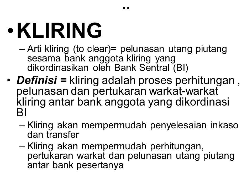.. KLIRING –Arti kliring (to clear)= pelunasan utang piutang sesama bank anggota kliring yang dikordinasikan oleh Bank Sentral (BI) Definisi = kliring