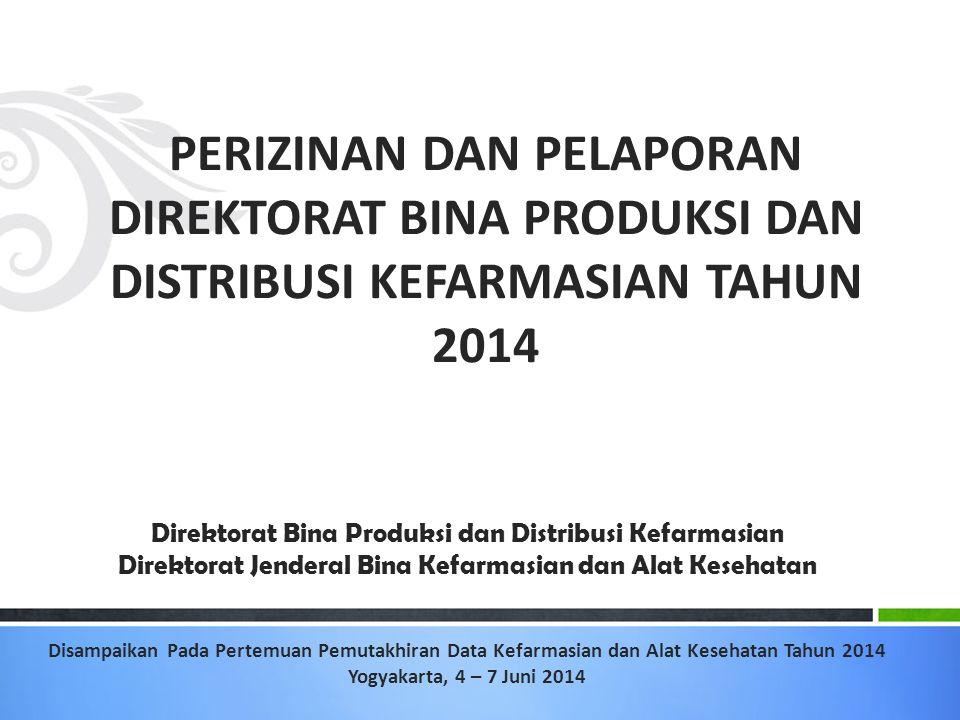 PERIZINAN DAN PELAPORAN DIREKTORAT BINA PRODUKSI DAN DISTRIBUSI KEFARMASIAN TAHUN 2014 Direktorat Bina Produksi dan Distribusi Kefarmasian Direktorat Jenderal Bina Kefarmasian dan Alat Kesehatan Disampaikan Pada Pertemuan Pemutakhiran Data Kefarmasian dan Alat Kesehatan Tahun 2014 Yogyakarta, 4 – 7 Juni 2014