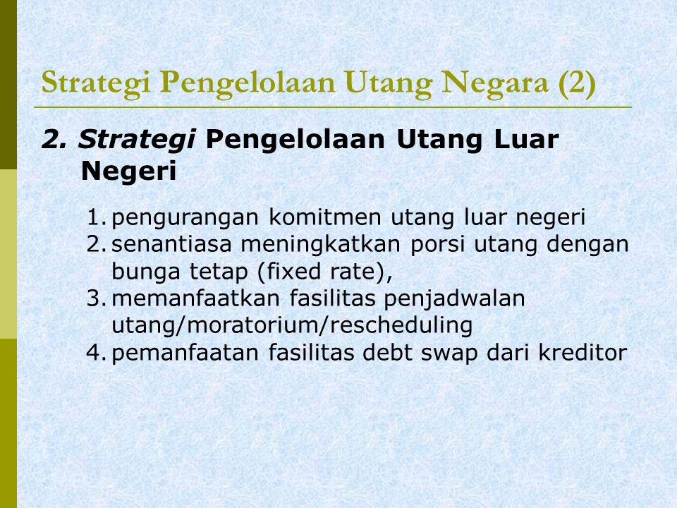 Strategi Pengelolaan Utang Negara (2) 2.Strategi Pengelolaan Utang Luar Negeri 1.