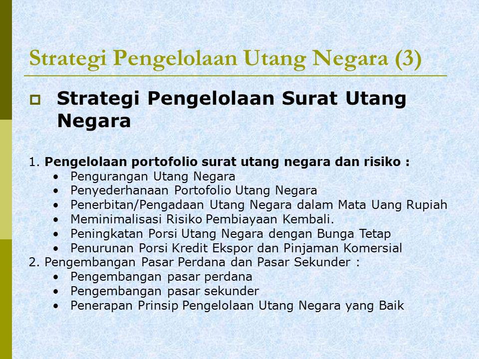 Strategi Pengelolaan Utang Negara (3)  Strategi Pengelolaan Surat Utang Negara 1.