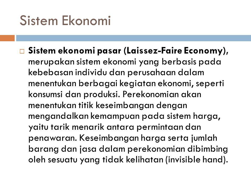 Sistem Ekonomi  Sistem ekonomi pasar (Laissez-Faire Economy), merupakan sistem ekonomi yang berbasis pada kebebasan individu dan perusahaan dalam men