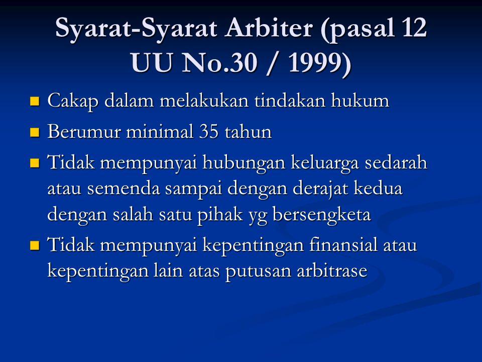 Syarat-Syarat Arbiter (pasal 12 UU No.30 / 1999) Cakap dalam melakukan tindakan hukum Cakap dalam melakukan tindakan hukum Berumur minimal 35 tahun Be