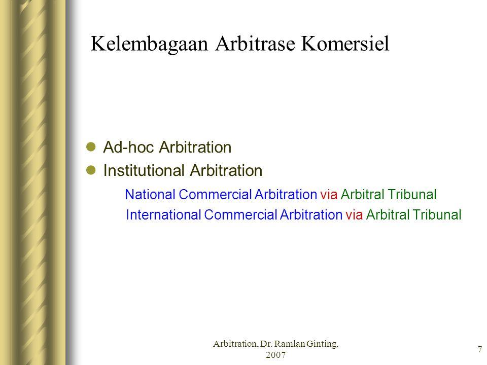 7 Kelembagaan Arbitrase Komersiel Ad-hoc Arbitration Institutional Arbitration National Commercial Arbitration via Arbitral Tribunal International Com
