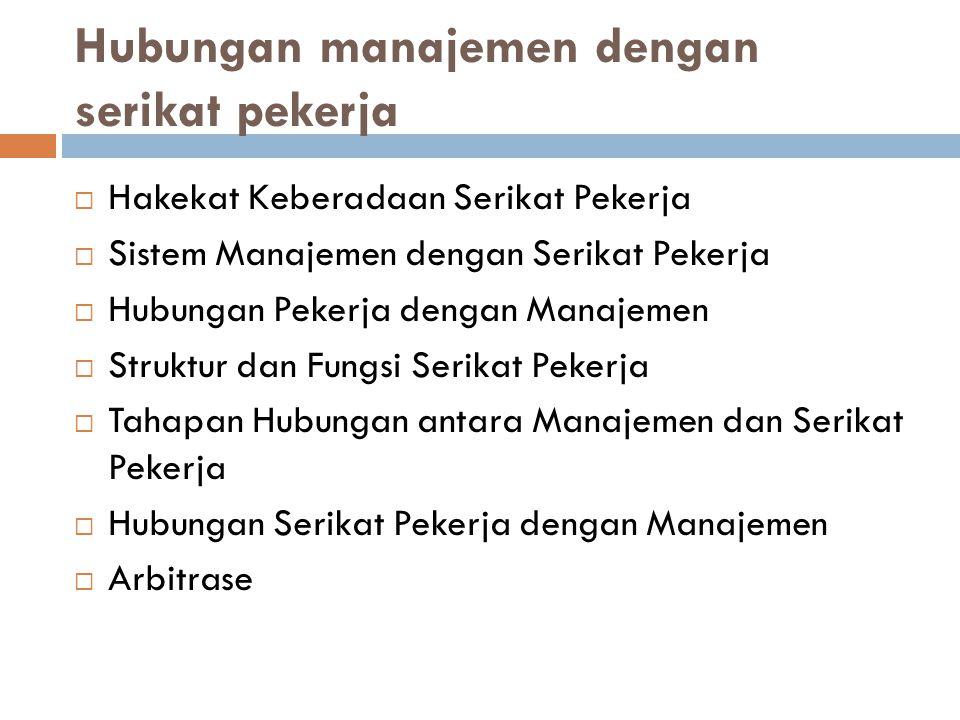 Hubungan manajemen dengan serikat pekerja  Hakekat Keberadaan Serikat Pekerja  Sistem Manajemen dengan Serikat Pekerja  Hubungan Pekerja dengan Man