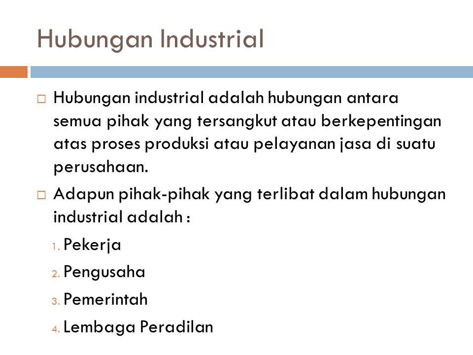  Hubungan industrial adalah hubungan antara semua pihak yang tersangkut atau berkepentingan atas proses produksi atau pelayanan jasa di suatu perusah