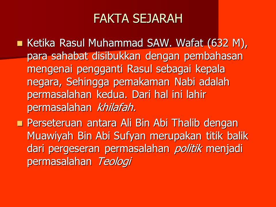 FAKTA SEJARAH Ketika Rasul Muhammad SAW. Wafat (632 M), para sahabat disibukkan dengan pembahasan mengenai pengganti Rasul sebagai kepala negara, Sehi