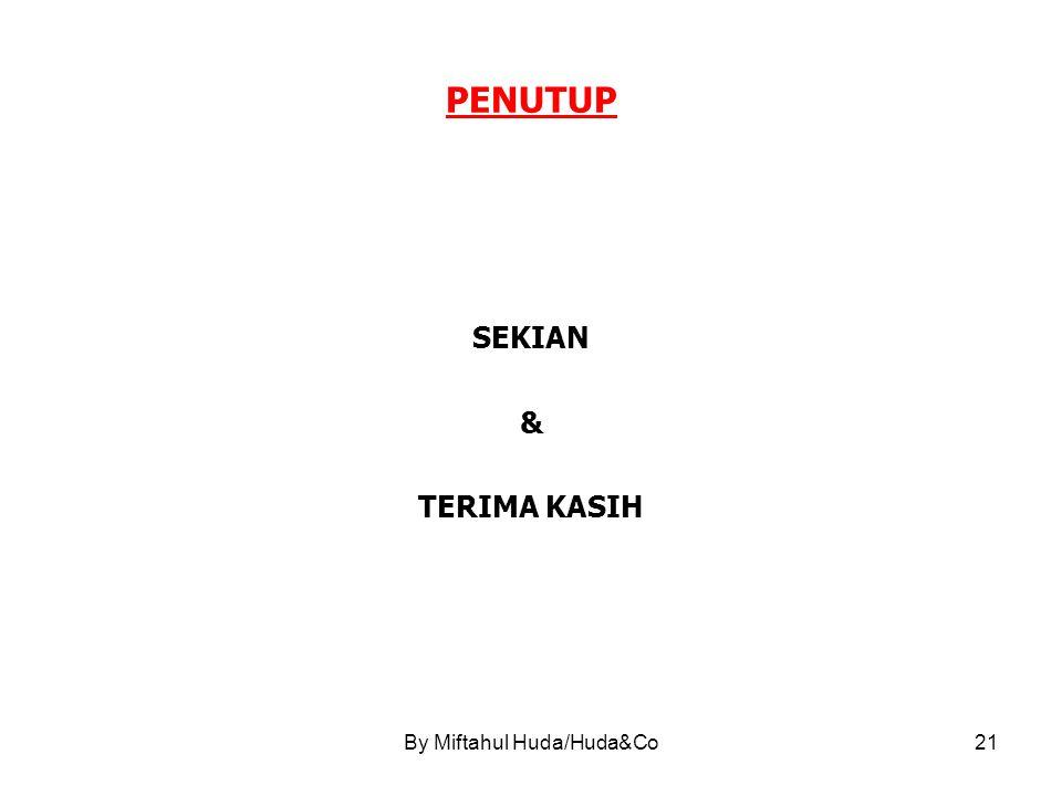 By Miftahul Huda/Huda&Co21 PENUTUP SEKIAN & TERIMA KASIH