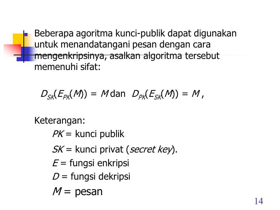 14 Beberapa agoritma kunci-publik dapat digunakan untuk menandatangani pesan dengan cara mengenkripsinya, asalkan algoritma tersebut memenuhi sifat: D SK (E PK (M)) = M dan D PK (E SK (M)) = M, Keterangan: PK = kunci publik SK = kunci privat (secret key).