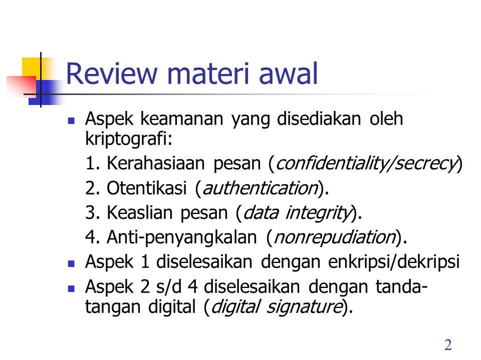 2 Review materi awal Aspek keamanan yang disediakan oleh kriptografi: 1.