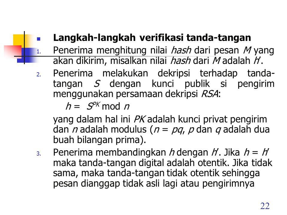 22 Langkah-langkah verifikasi tanda-tangan 1.