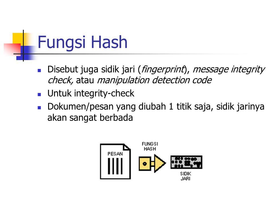 Fungsi Hash Disebut juga sidik jari (fingerprint), message integrity check, atau manipulation detection code Untuk integrity-check Dokumen/pesan yang diubah 1 titik saja, sidik jarinya akan sangat berbada