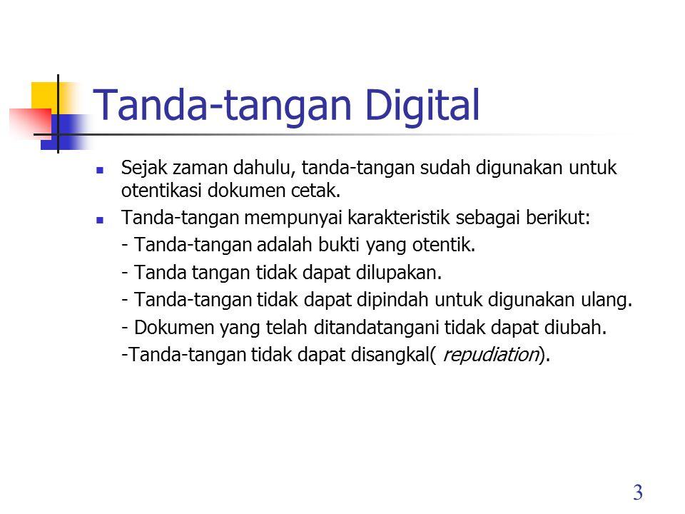 4 Fungsi tanda tangan pada dokumen kertas juga diterapkan untuk otentikasi pada data digital (pesan, dokumen elektronik).