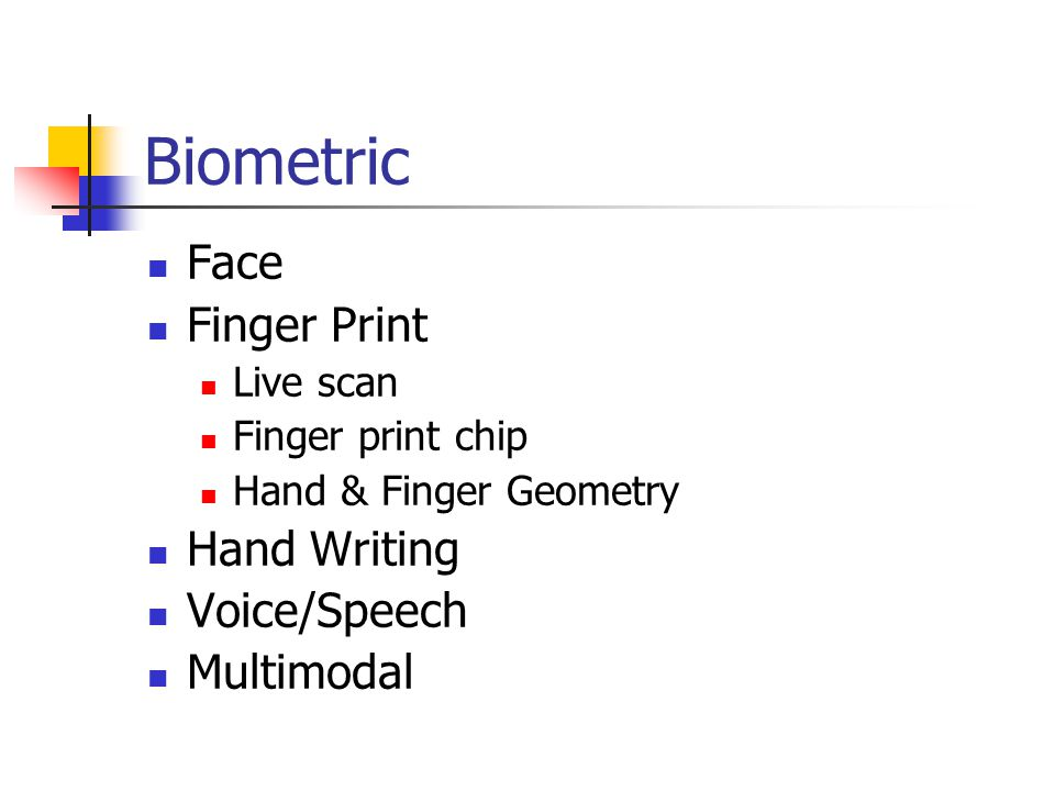 Biometric Face Finger Print Live scan Finger print chip Hand & Finger Geometry Hand Writing Voice/Speech Multimodal