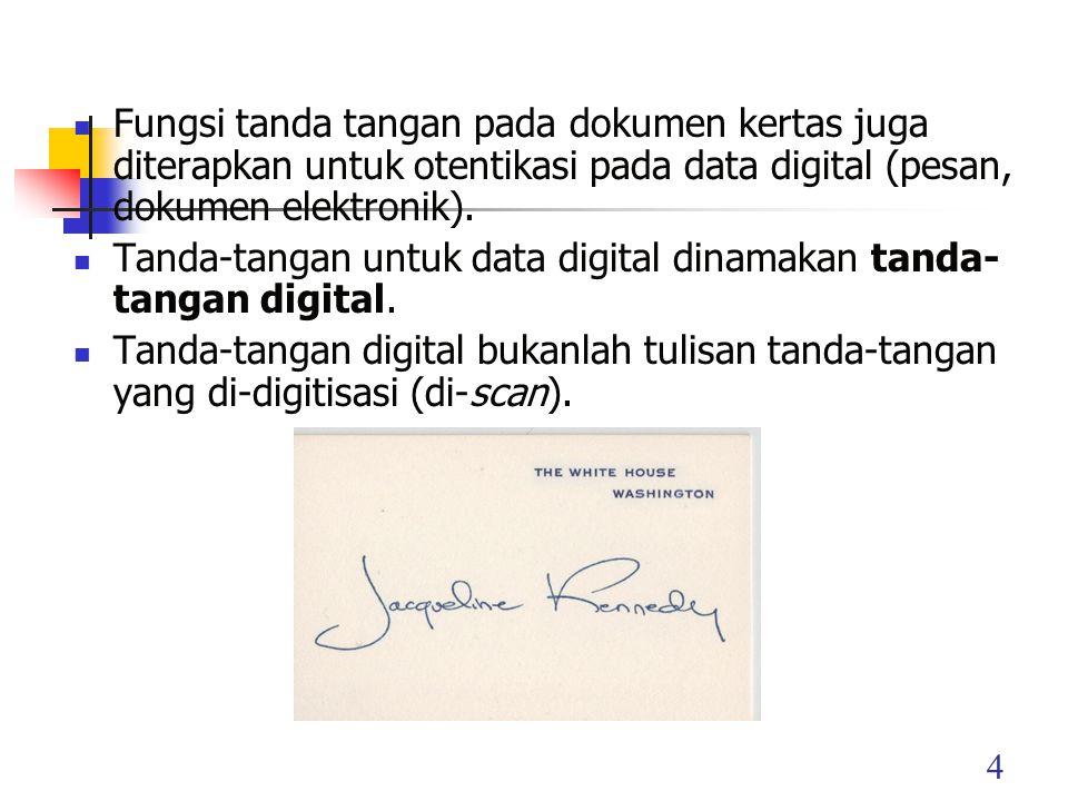 Tanda-tangan digital adalah nilai kriptografis yang bergantung pada isi pesan dan kunci.