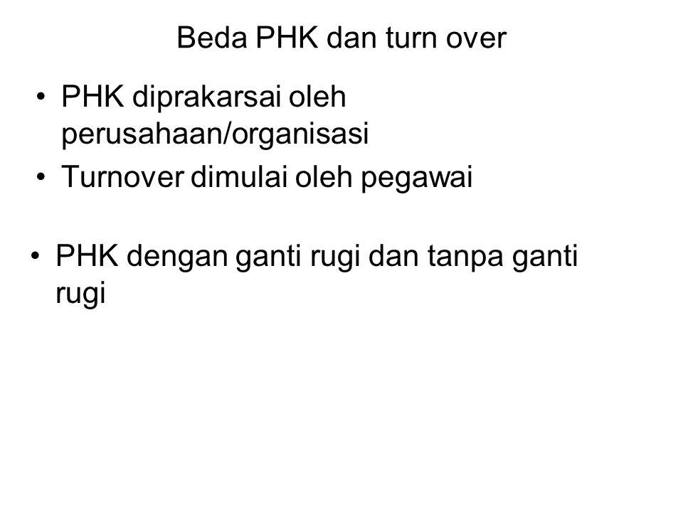 Beda PHK dan turn over PHK diprakarsai oleh perusahaan/organisasi Turnover dimulai oleh pegawai PHK dengan ganti rugi dan tanpa ganti rugi
