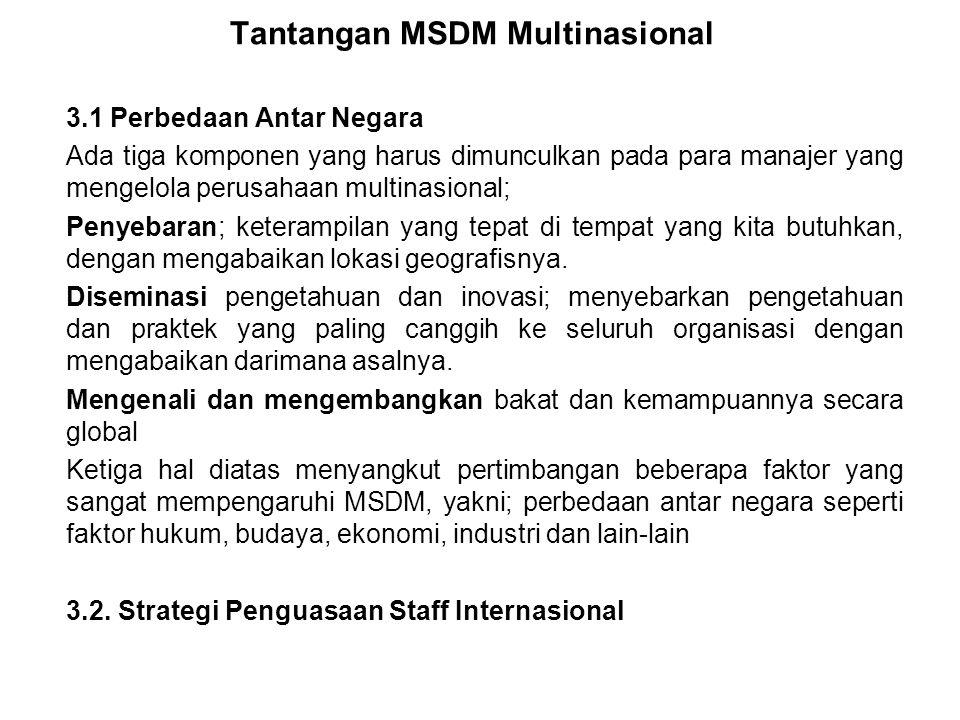 Tantangan MSDM Multinasional 3.1 Perbedaan Antar Negara Ada tiga komponen yang harus dimunculkan pada para manajer yang mengelola perusahaan multinasional; Penyebaran; keterampilan yang tepat di tempat yang kita butuhkan, dengan mengabaikan lokasi geografisnya.