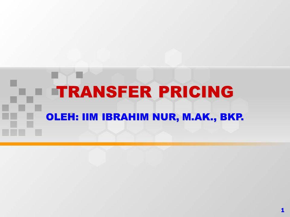 2 TRANSFER PRICING Transfer Pricing, yaitu transaksi antar wajib pajak yang mempu- nyai hubungan istimewa (related party) yang mengakibatkan tidak wajarnya harga, biaya, atau imbalan.