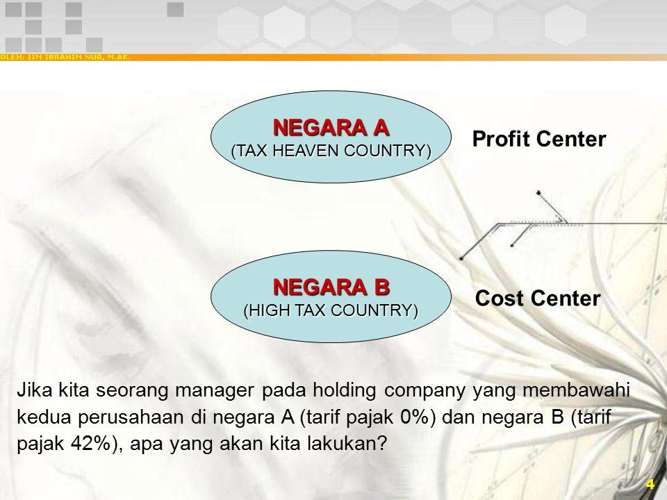 4 NEGARA A (TAX HEAVEN COUNTRY) NEGARA B (HIGH TAX COUNTRY) Jika kita seorang manager pada holding company yang membawahi kedua perusahaan di negara A