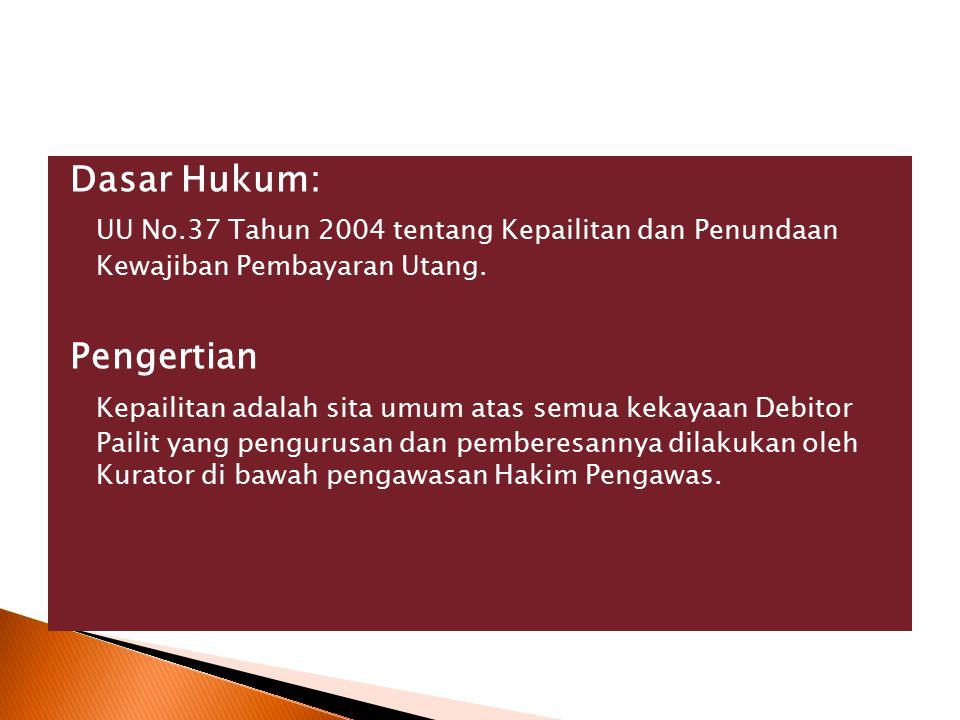 Dasar Hukum: UU No.37 Tahun 2004 tentang Kepailitan dan Penundaan Kewajiban Pembayaran Utang. Pengertian Kepailitan adalah sita umum atas semua kekaya