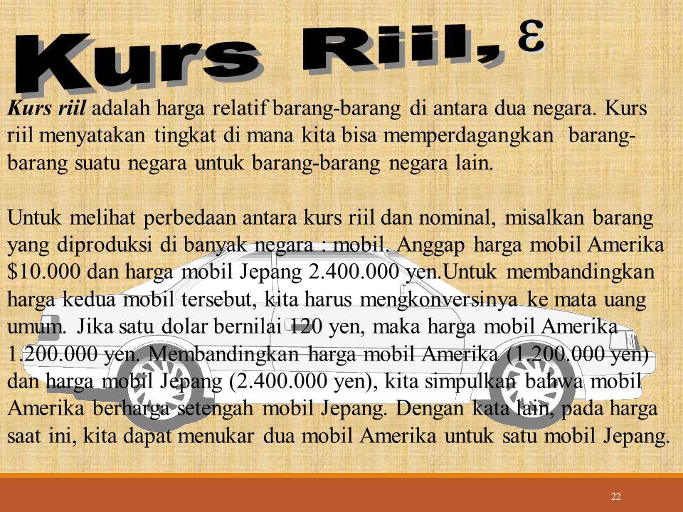22 Kurs riil adalah harga relatif barang-barang di antara dua negara. Kurs riil menyatakan tingkat di mana kita bisa memperdagangkan barang- barang su