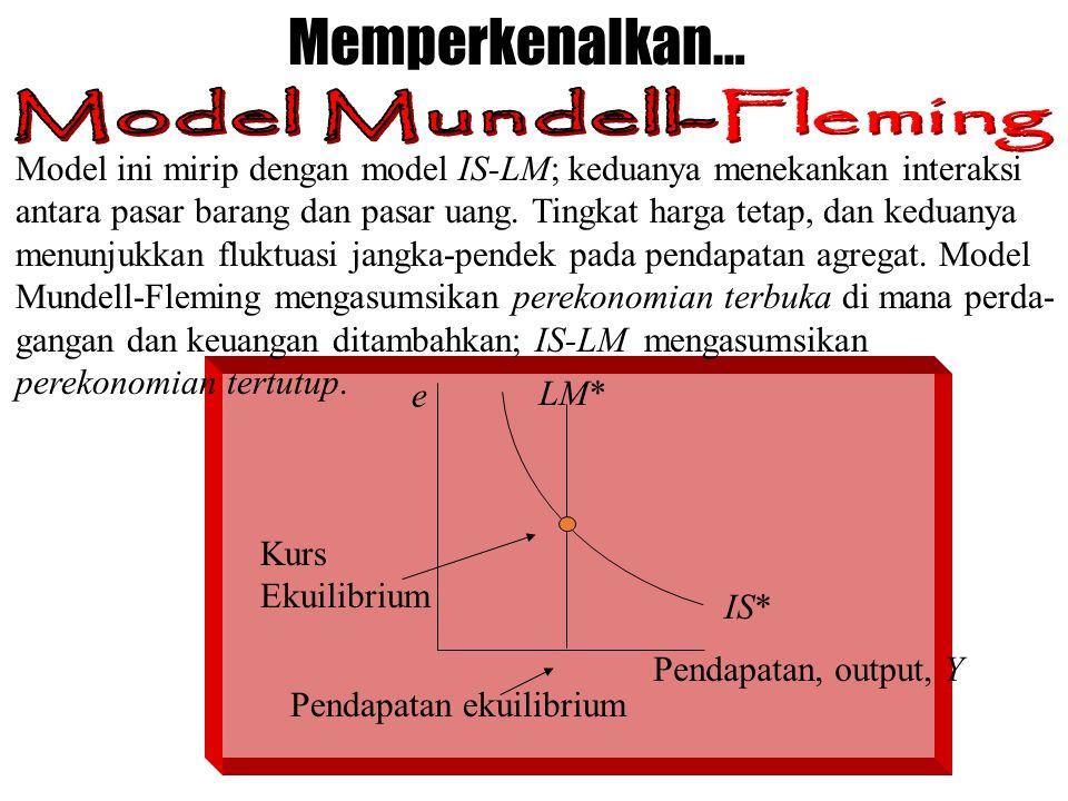 Memperkenalkan… e Pendapatan, output, Y LM* IS* Kurs Ekuilibrium Pendapatan ekuilibrium Model ini mirip dengan model IS-LM; keduanya menekankan intera