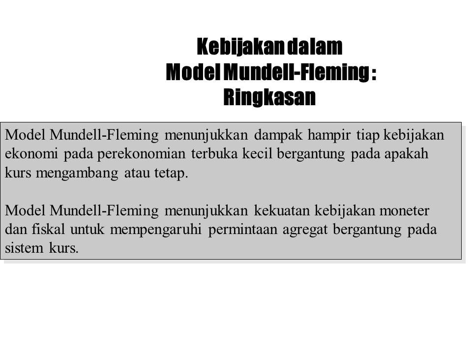 Kebijakan dalam Model Mundell-Fleming : Ringkasan Model Mundell-Fleming menunjukkan dampak hampir tiap kebijakan ekonomi pada perekonomian terbuka kec